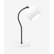 Luminária de Mesa Branca 40cm Abajur E27 Bola Alumínio