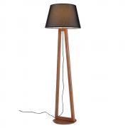 Luminária de Chão Join 170cm Madeira Castanho Cúpula Preta Madelustre