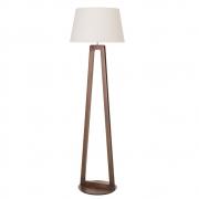 Luminária de Chão Join 170cm Madeira Imbuia Cúpula Algodão Cru Madelustre