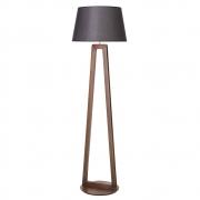 Luminária de Chão Join 170cm Madeira Imbuia Cúpula Preta Madelustre