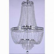 Lustre de Cristal para 21 Lâmpadas Fontana Gemelli Cromado