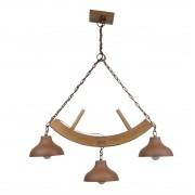 Lustre Pendente Rústico Madeira Estância 3 lâmpadas (oxidado)  Madelustre