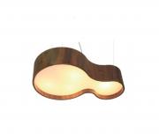 Lustre Pendente  Semi Cilíndrico KS em Madeira 72x52x20 - Accord 285