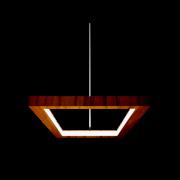 Pendente Frame Retangular LED 38w 2700k 120cm Madeira Imbuia