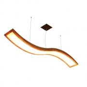 Lustre Pendente Retangular Onda LED 24w 2700k 160cm Madeira