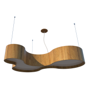 Lustre Pendente Semi Cilíndrico 100cm em Madeira Louro Freijó