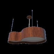 Lustre Pendente Semi cilíndrico 75cm em Madeira Imbuia