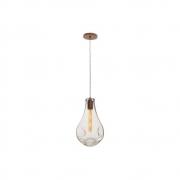 Pendente 1 Lamp  Vidro Amassado Gota 21cm Madelustre