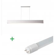 Luminária Pendente Retangular 125cm Branco + 1 Lâmpada TuboLED 18w