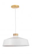 Pendente Industrial em Metal e Madeira Vibrance 30cm Branco Madelustre