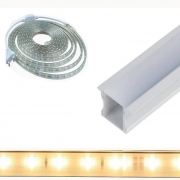 Perfil de Embutir 1 Metro + Fita LED 14w/m 5050 Branco Quente 127v