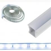Perfil de Embutir 4 Metros + Fita LED 14w/m 5050 Branco Frio 127v