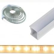 Perfil de Embutir 4 Metros + Fita LED 14w/m 5050 Branco Quente 127v