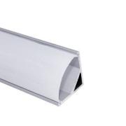 Perfil Sobrepor Canto Para Fita Led 2 Metros Alumínio Difusor Leitoso