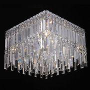 Plafon Sobrepor Quadrado 40x40cm Cristal Translúcido Mais Luz