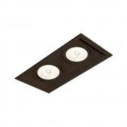 Plafon Spot Embutir Direcionável 2 Lâmpadas AR111 Preto RL