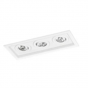 Plafon Spot Embutir Direcionável 3 Lâmpadas Dicróica Branco