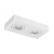 Plafon Spot Sobrepor Direcionável 2 Lâmpadas Dicróica Branco