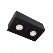 Plafon Spot Sobrepor Direcionável 2 Lâmpadas Dicróica Preto