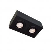 Plafon Spot Sobrepor Direcionável 2 Lâmpadas Par30 Preto RL