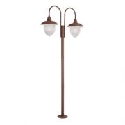 Poste De Jardim 230cm Veneza 2 Lamp Marrom Madelustre