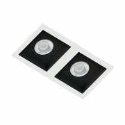 Spot Duplo Embutir Quadrado Recuado Branco Fundo Preto Par30 E27