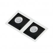 Spot Duplo Embutir Quadrado Recuado Branco Fundo Preto Para Par20 E27