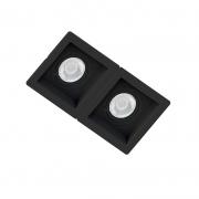 Spot Duplo Embutir Quadrado Recuado Preto Para Par30 E27