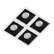 Spot Quadruplo Embutir Quadrado Recuado Branco Fundo Preto Par20 E27