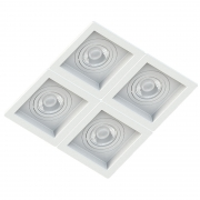 Spot Quadruplo Embutir Quadrado Recuado Branco Para Mini Dicróica Gu10 Mr11