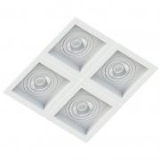 Spot Quadruplo Embutir Quadrado Recuado Branco Para Par20 E27