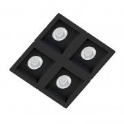 Spot Quadruplo Embutir Quadrado Recuado Preto Para Dicróica Gu10 Mr16
