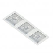 Spot Triplo Embutir Quadrado Recuado Branco Para Dicróica Gu10 Mr16