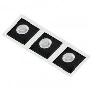 Spot Triplo Embutir Quadrado Recuado Branco Fundo Preto Par20 E27