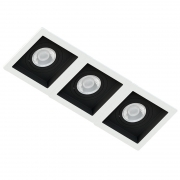 Spot Triplo Embutir Quadrado Recuado Branco Fundo Preto Par30 E27