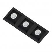 Spot Triplo Embutir Quadrado Recuado Preto Para Par20 E27