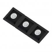Spot Triplo Embutir Quadrado Recuado Preto Para Par30 E27