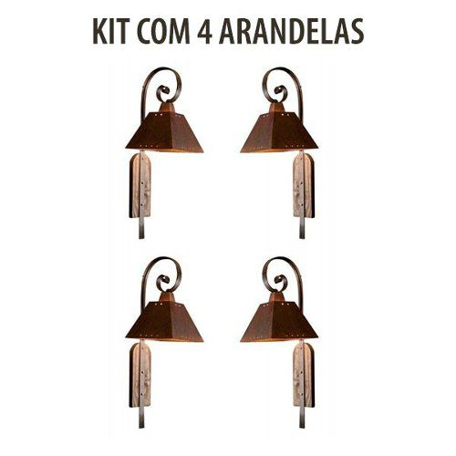 Kit 4 Arandela Rústica Napoli Envelhecida Madelustre