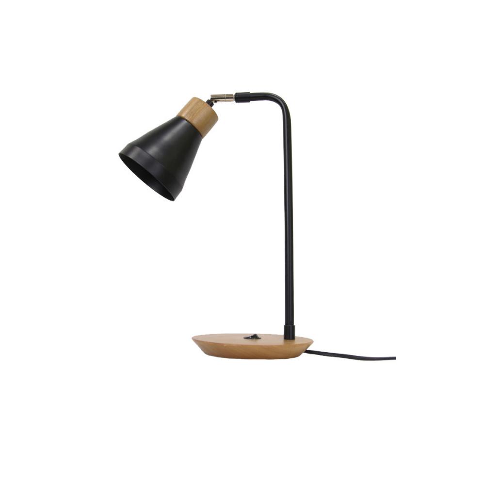 Abajur de Mesa Bruna 1 Lamp Madeira Castanho e Preto Madelustre