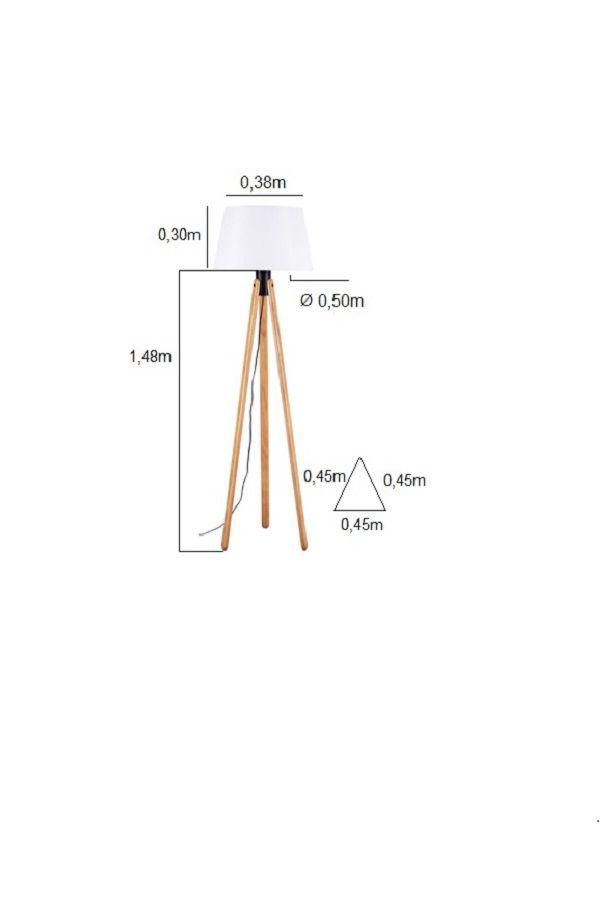 Luminária de Chão Tripé 178cm Madeira Castanho Cúpula Branca Madelustre