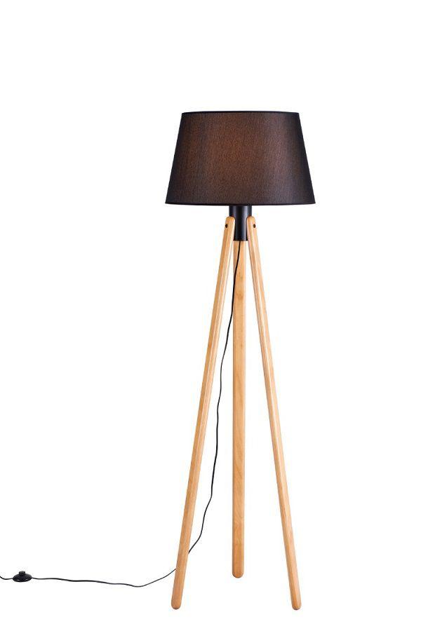 Luminária de Chão Tripé 178cm Madeira Castanho Cúpula Preta Madelustre