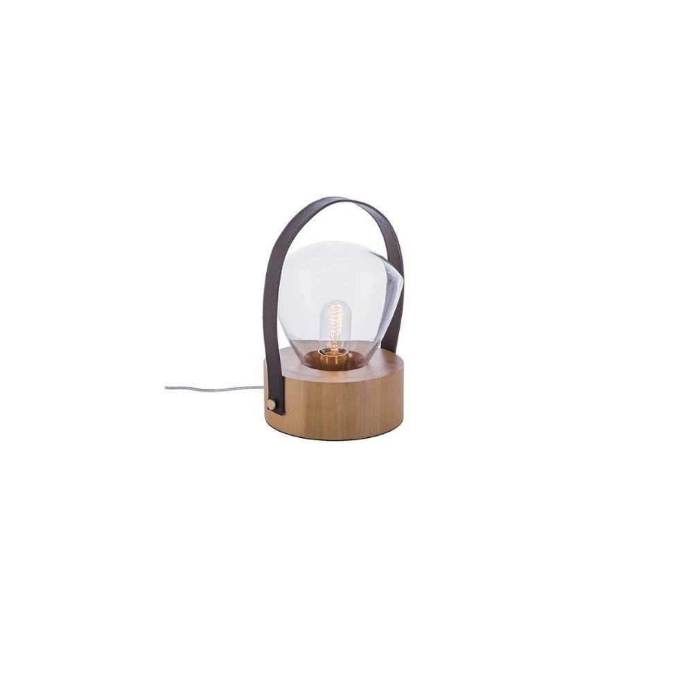 Abajur De Mesa 20cm 1 Lamp Couro Castanho Dourado Madelustre
