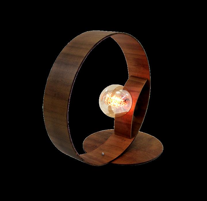 Abajur De Mesa Madeira Imbuia Cilíndrico 35cm Para 1 Lâmpada