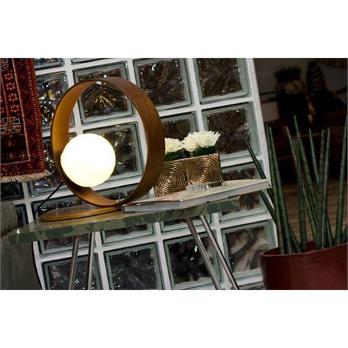 Abajur de Mesa Madeira e Vidro Sfera 35cm x 25cm - Accord 141