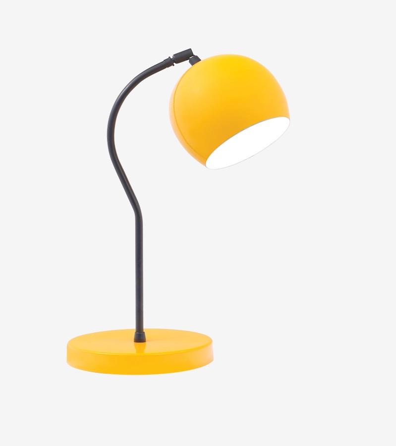 Luminária de Mesa Amarela 40cm Abajur E27 Bola Alumínio