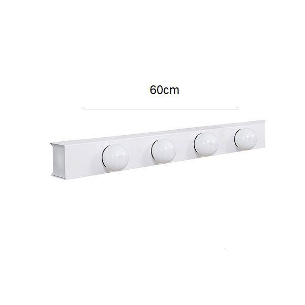Arandela Camarim 4 Lâmpadas 60cm Alumínio Branco com Botão RL