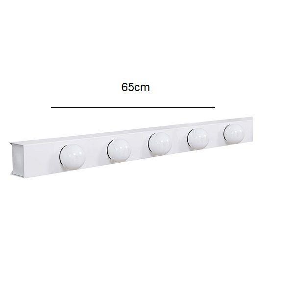 Arandela Camarim 5 Lâmpadas 65cm Alumínio Branco com Botão RL