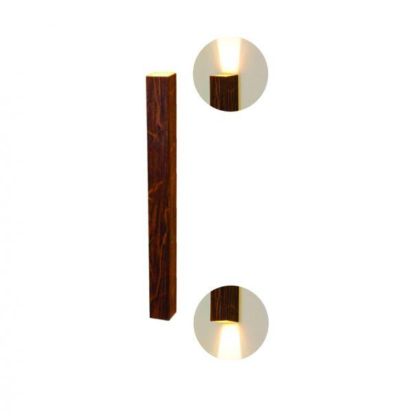 Arandela de Parede Madeira Interna Foco Duplo 70cm 2GU10