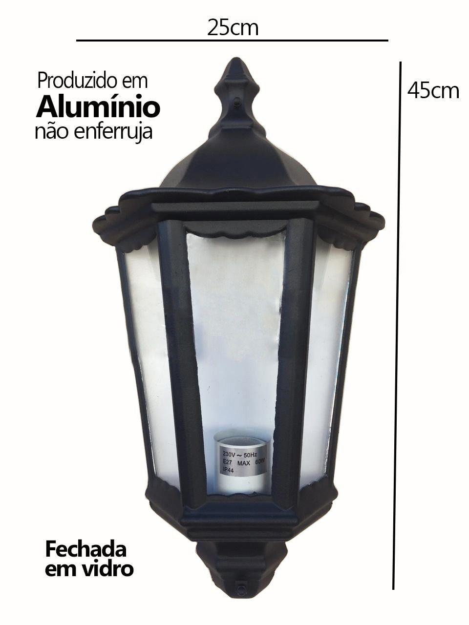 Arandela Colonial Clássica Meia Face 3 Vidros em Alumínio Preto
