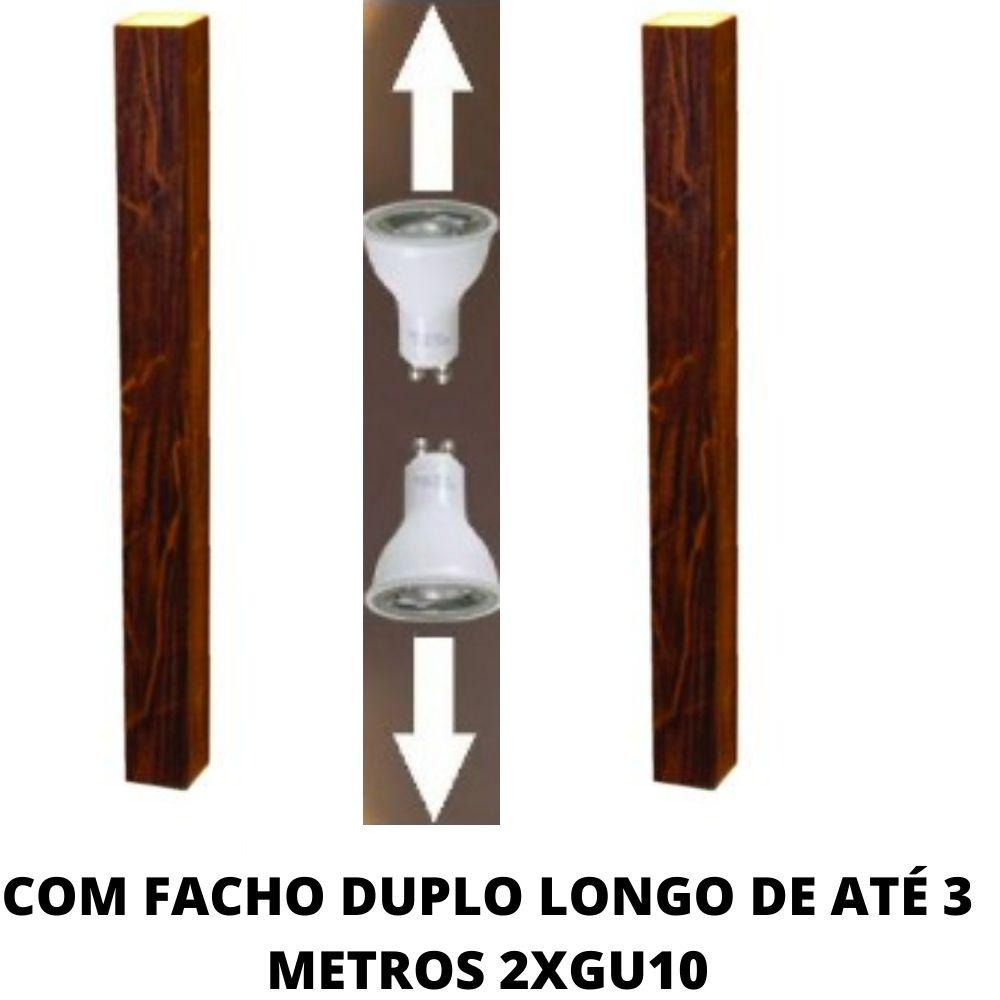 Arandela de Parede Madeira Interna Foco Duplo 60cm 2GU10